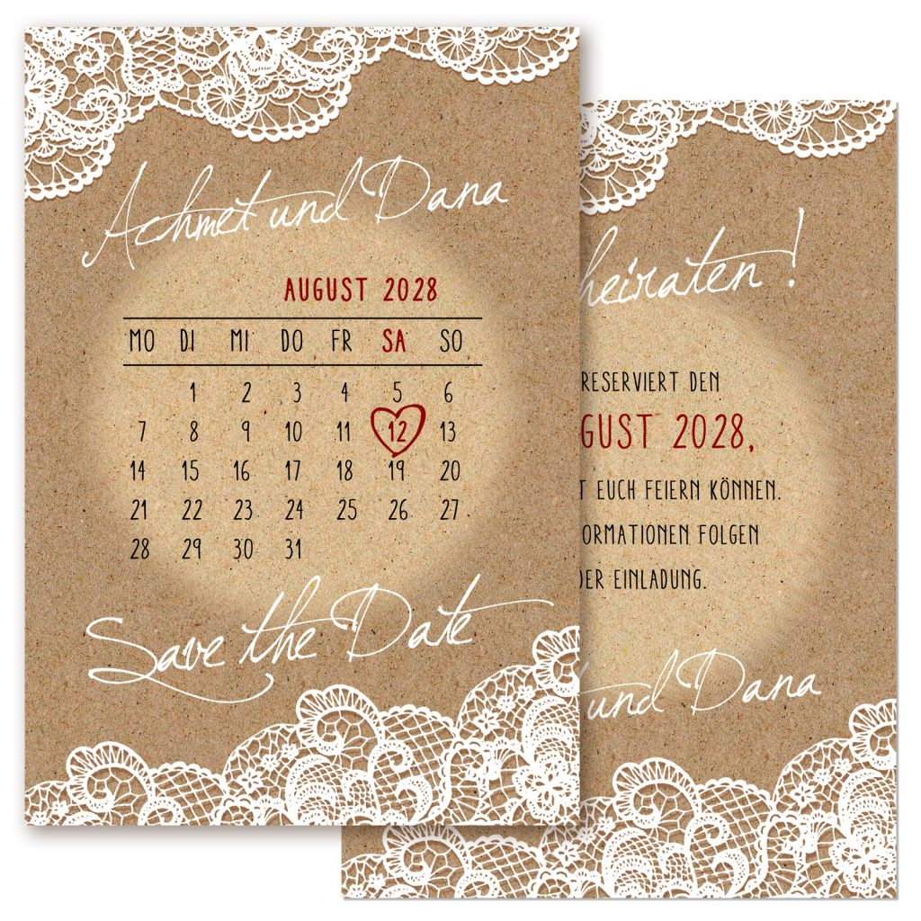 Save the Date Kalender Einladungskarten