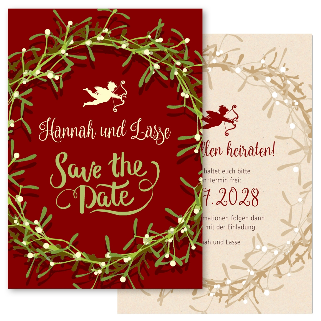 Save-the-Date Weihnachten Mistelzweig